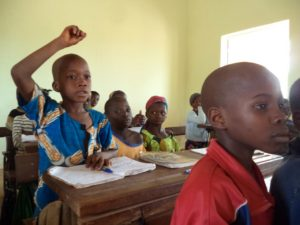 Inside a new classroom in Tiogola